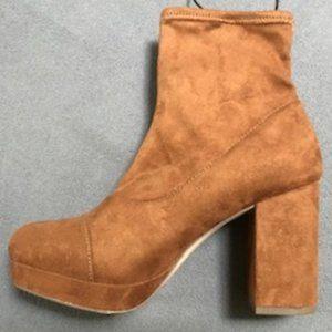 Forever 21 cinnamon sueded sock booties